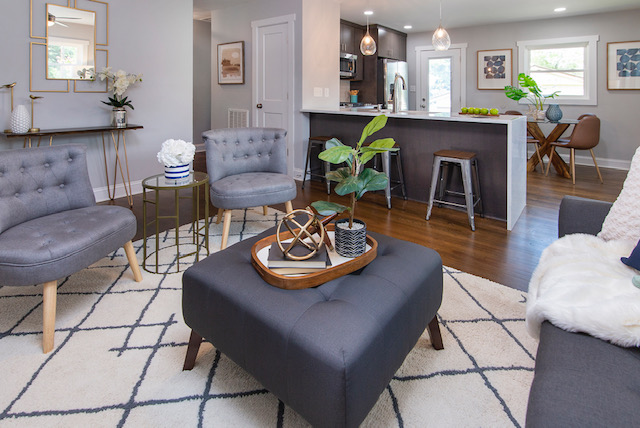 living room mid century modern bungalow home staging company Charlotte NC Plaza Midwood