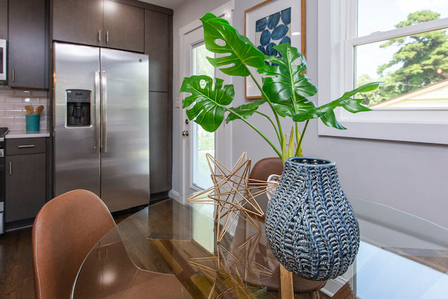 kitchen table mid century modern bungalow home staging company Charlotte NC