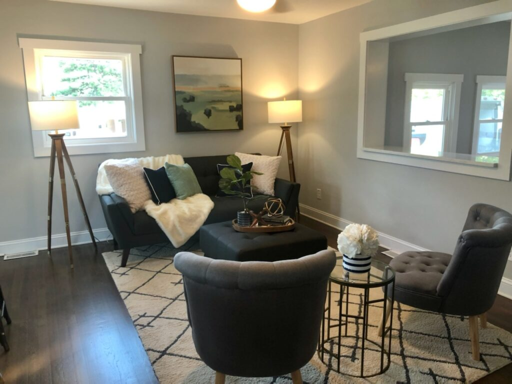 living room mid century modern bungalow home staging company Charlotte NC